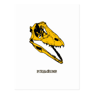 Graphic T-Rex Skull Postcard
