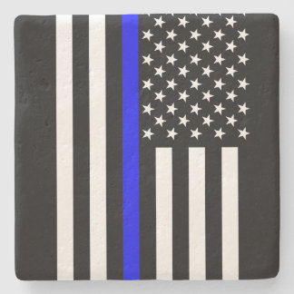 Graphic Thin Blue Line Display US Flag Stone Coaster