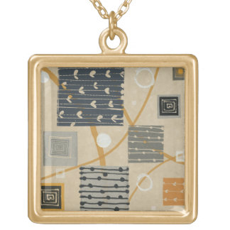 Graphic Tiles Gold Plated Necklace