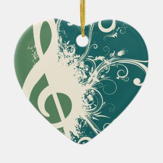 Graphic Treble Clef Ceramic Heart Decoration