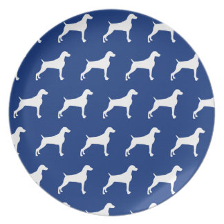GRAPHIC WEIMARANER MULTI SILHOUETTE BLUE PLATE