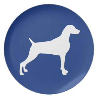 GRAPHIC WEIMARANER SILHOUETTE WHITE BLUE PLATE