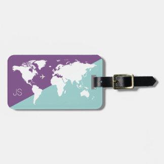 graphic world map travel purple luggage tag