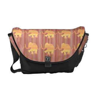 Graphic Yellow Elephants on Brown Stripes Commuter Bag