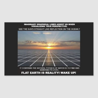 Graphical lines help us to visualise Flat Earth Rectangular Sticker