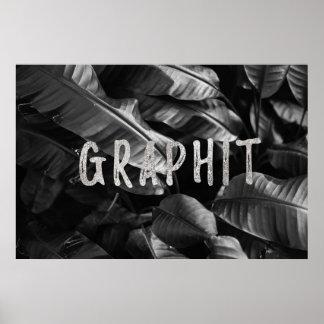 Graphit Black & White Banana Leaf Poster