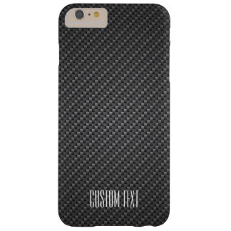Graphite Fiber Texture with custom text Barely There iPhone 6 Plus Case