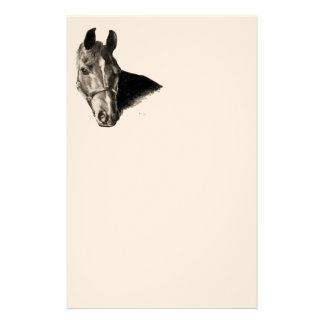 Graphite Horse Head Personalized Stationery
