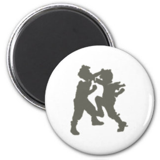 grappling children brawling children 6 cm round magnet