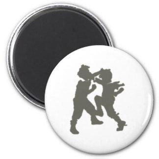 grappling children brawling children 6 cm round magnet