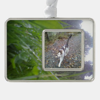 Grass and tree silver plated framed ornament