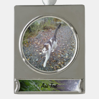 Grass and tree silver plated banner ornament