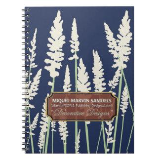 Grass Blossoms Decor Blue Modern Notebook