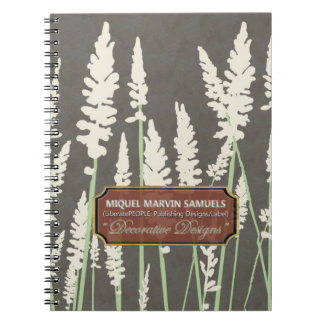 Grass Blossoms Decor Dark Modern Notebook