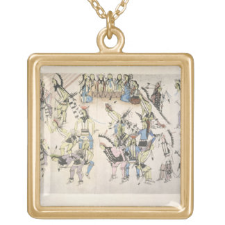 Grass dance (ink on paper) necklace