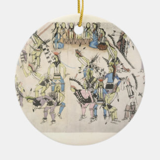 Grass dance (ink on paper) round ceramic decoration