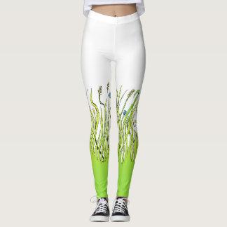 Grass design on a woman`s leggings. leggings