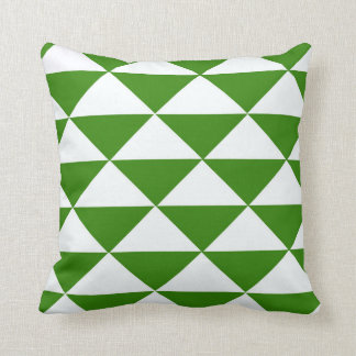 Grass Green and White Triangles Cushion