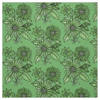 Grass-Green Floral Bouquet Fabric