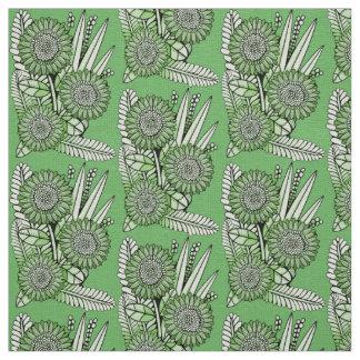 Grass-Green Floral Spray Fabric