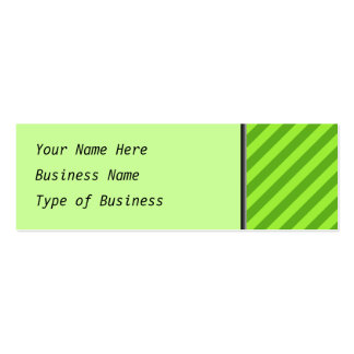 Grass Green Stripes. Pack Of Skinny Business Cards