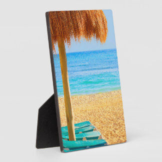 Grass Hut & Loungers On Beach Plaque