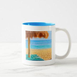 Grass Hut & Loungers On Beach Two-Tone Coffee Mug
