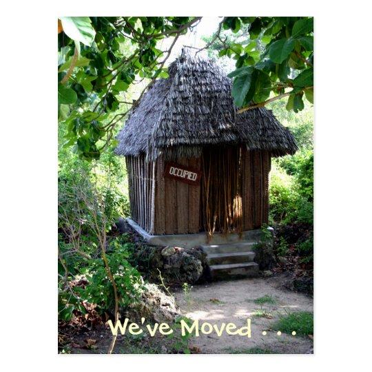 Grass Hut - New Address Postcard