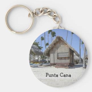 grass hut on a tropical beach basic round button key ring