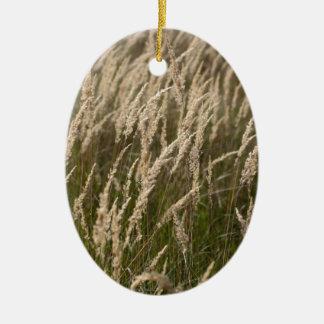 Grass in autumn ceramic oval decoration