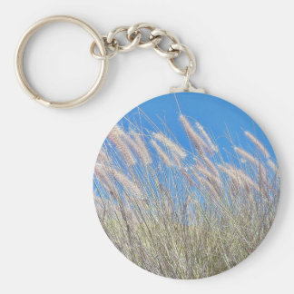 Grass In The Wind Basic Round Button Key Ring