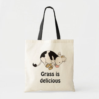 Grass is delicious tote bag