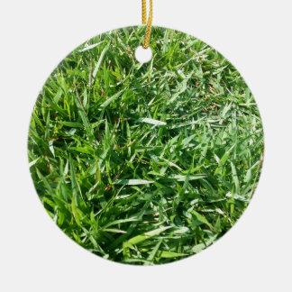 Grass Photo Design Round Ceramic Decoration