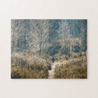 Grass plants and frosted trees jigsaw puzzle