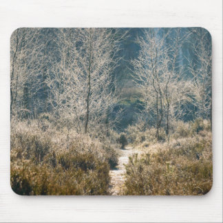 Grass plants and frosted trees mouse pad