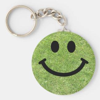 Grass Smiley Basic Round Button Key Ring