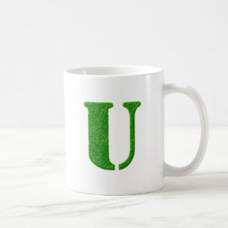 Grass Stencil Monogram Mugs