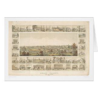 Grass Valley, CA. Panoramic Map 1858 (0663A) Card