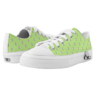 Grass with beads on light green printed shoes