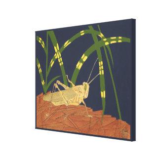 Grasshopper in Green Grass on Blue Background Canvas Print