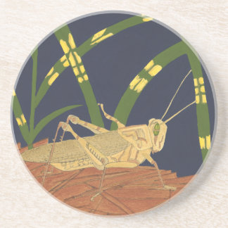 Grasshopper in Green Grass on Blue Background Coaster