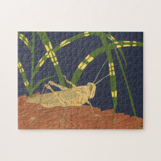 Grasshopper in Green Grass on Blue Background Jigsaw Puzzle