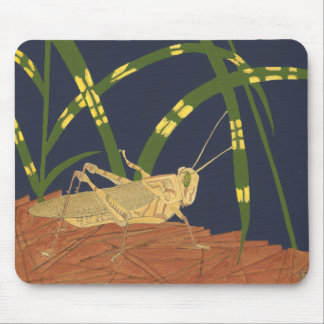Grasshopper in Green Grass on Blue Background Mouse Mat