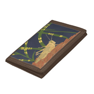Grasshopper in Green Grass on Blue Background Trifold Wallet