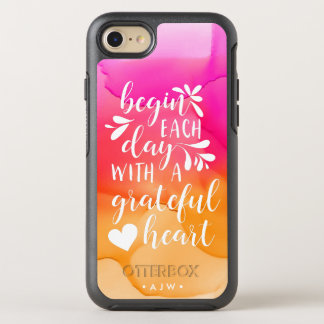 Grateful Heart Hand Lettered Typography | Monogram OtterBox Symmetry iPhone 8/7 Case