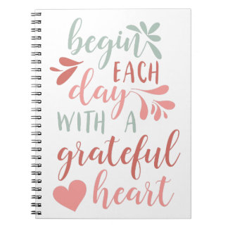 Grateful Heart | Hand Lettered Typography Quote Notebook
