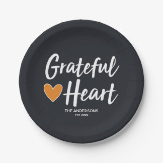 Grateful Heart. Modern Thanksgiving. Paper Plate