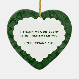 Grateful Heart Personalized Green Gift Christmas Ornament