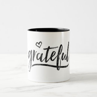 Grateful Minimalistic Custom Background Color Two-Tone Coffee Mug
