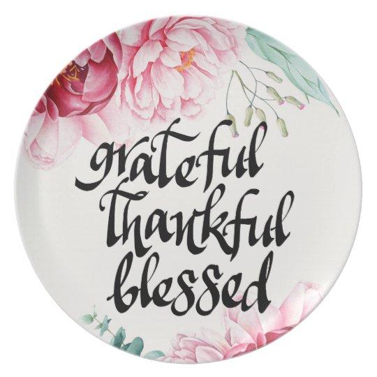 Grateful Thankful Blessed Melamine Plate